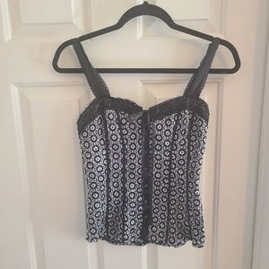 Bebe Black and White Button Front Corset Top Small